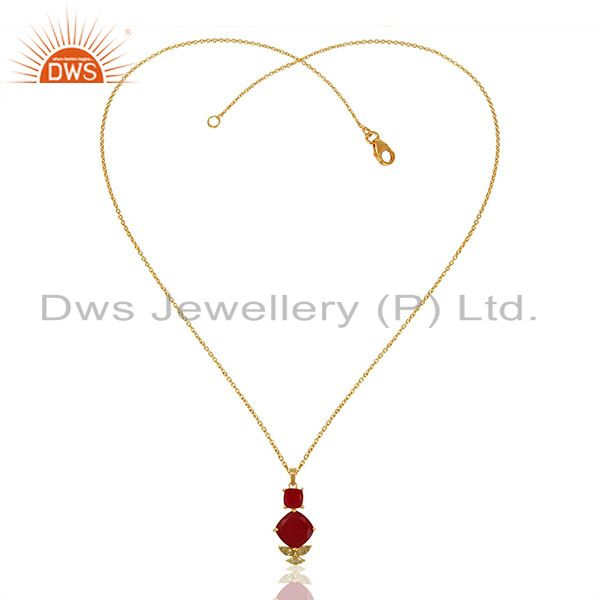 Exporter Handmade Gold Plated 925 Silver Multi Gemstone Chain Pendant Wholesale