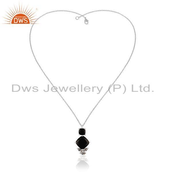 Wholesale Handmade 925 Silver Black Onyx and Zircon Customized Pendant Manufacturer