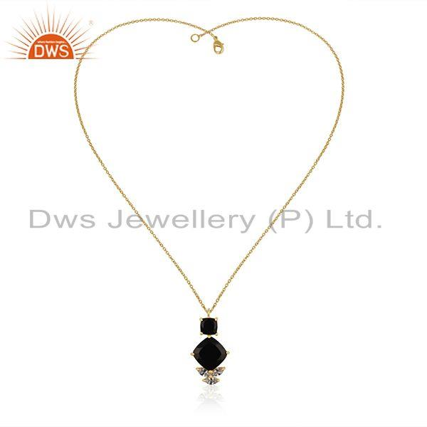 Wholesale White Zircon and Black Onyx Gemstone 925 Silver Custom Pendant Manufacturer
