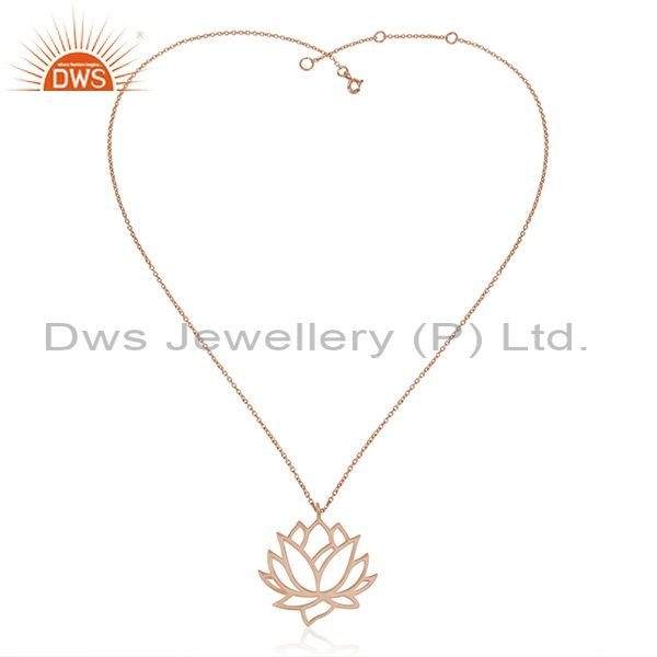Exporter Rose Gold Plated 925 Sterling Silver Lotus Design Chain Pendant Manufacturer