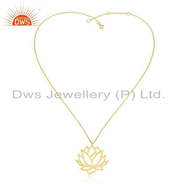Exporter Lotus Flower Design 925 Sterling Plain Silver 14k Gold Plated Pendant Suppliers