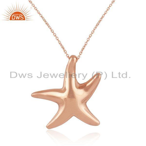 Exporter Star Fish Charm Rose Gold Plated Sterling Silver Girls Chain Pendant