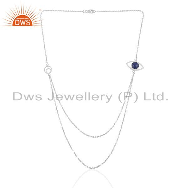 Exporter Evil Eye Design 925 Silver Lapis Lazuli Gemstone Chain Necklace Manufacturers