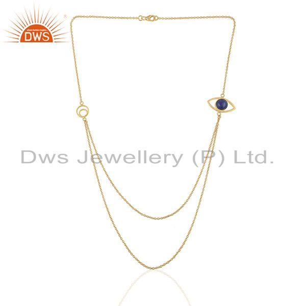 Exporter Handmade Evil Eye Design Gold Plated 925 Silver Chain Necklace Suppliers