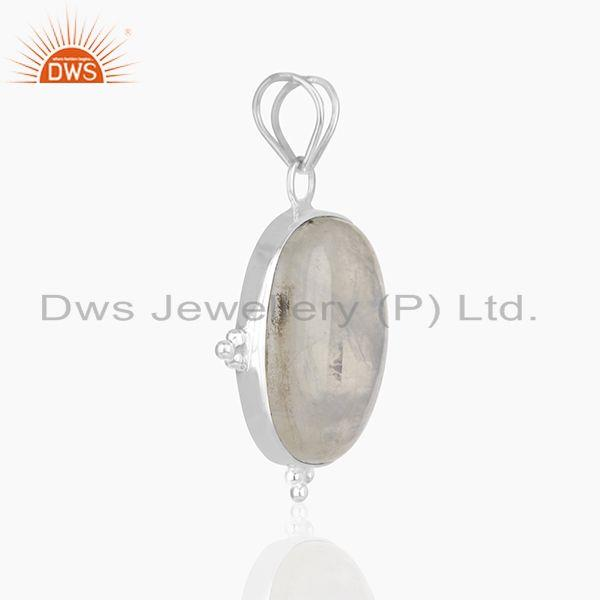 Exporter Rainbow Moonstone 925 Sterling Silver Customized Pendant Manufacturer from India