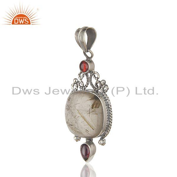Exporter Oxidized Sterling Silver Moonstone and Garnet Gemstone Pendant Manufacturers
