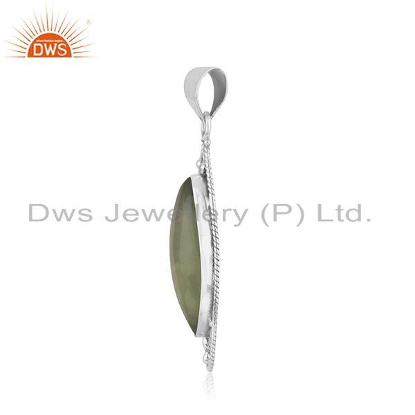 Exporter Oxidized Sterling Silver Prehnite Gemstone Pendant Jewelry