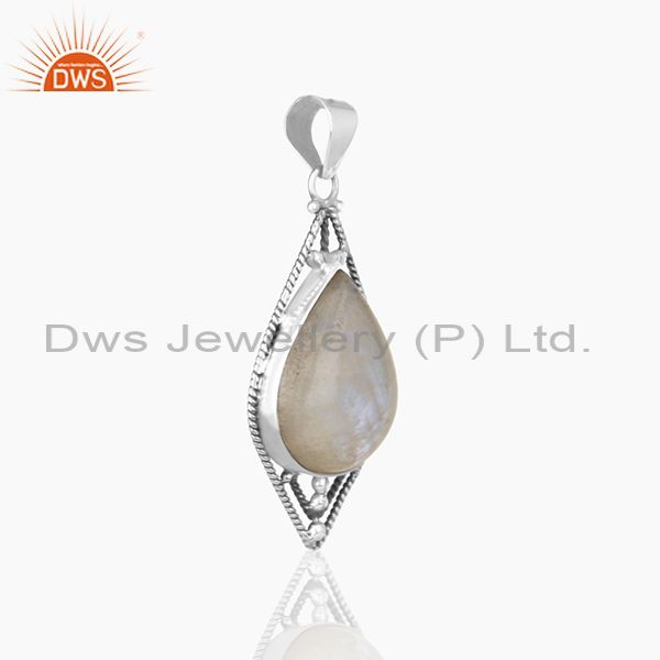 Exporter Oxidized 925 Silver Rainbow Moonstone Designer Customized Pendant Manufacturers
