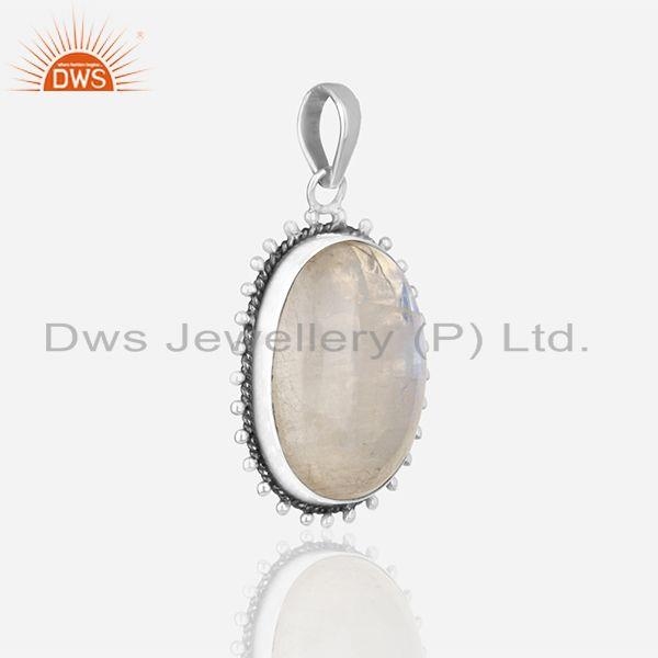 Exporter Rainbow Moonstone 925 Sterling Silver Oxidized Designer Pendant Jewellery