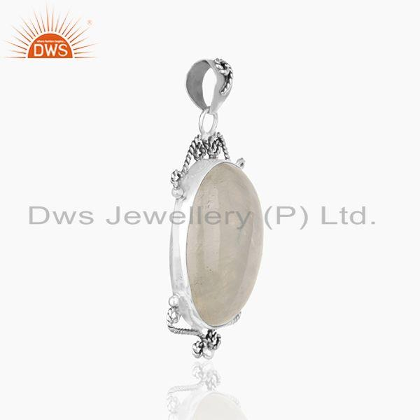 Exporter Designer Sterling 92.5 Silver Oxidized Moonstone Rainbow Pendant Wholesale