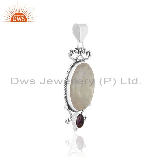 Exporter Natural Amethyst and Moonstone Rainbow Gemstone 925 Silver Pendant Supplier