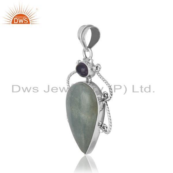 Exporter Aquamarine Amethyst Gemstone Sterling SIlver Oxidized Pendant Supplier