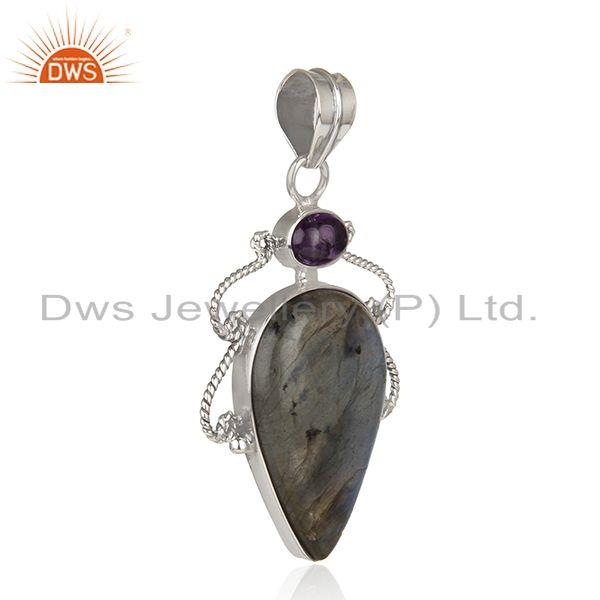 Exporter Amethyst Labradorite Gemstone Oxidized Sterling Silver Pendant Jewelry
