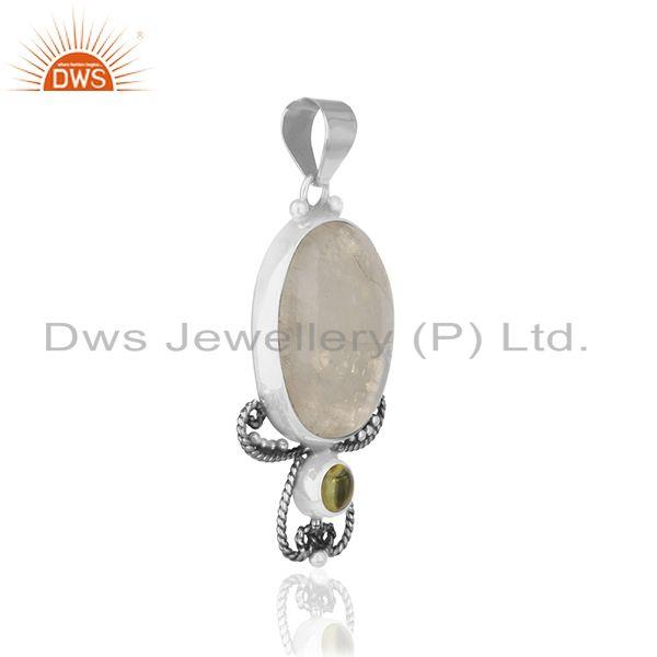 Exporter Peridot and Rainbow Moonsone 925 Silver Designer Pendant Wholesale