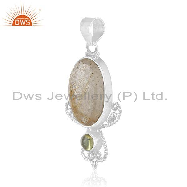 Exporter Peridot and Rutile Gemstone Designer 925 Sterling Silver Pendant Manufacturer