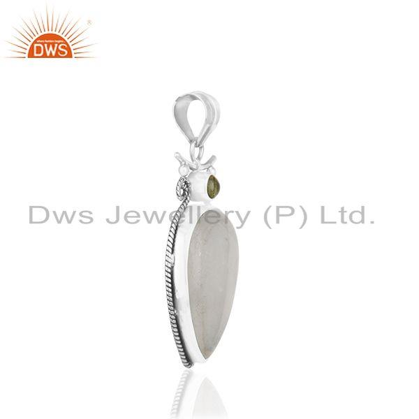 Exporter Peridot Gemstone Rainbow Moonstone Oxidized 925 Silver Pendant Wholesale