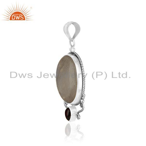 Exporter Rainbow Moonstone and Garnet Gemstone 925 Oxidized Silver Designer Pendant