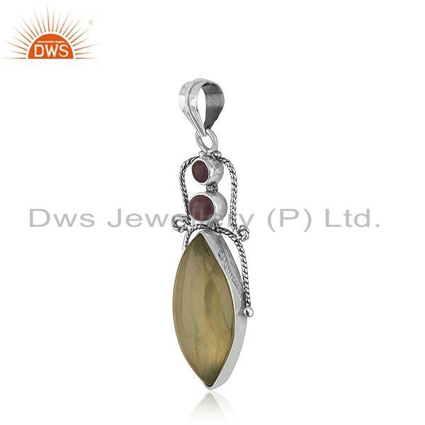 Exporter Prehnite Amethyst Gemstone Sterling Silver Oxidized Pendant Jewelry
