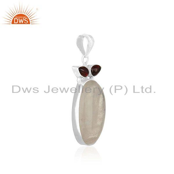 Exporter Rainbow Moonstone and Garnet Gemstone 925 Silver Custom Pendant Wholesale