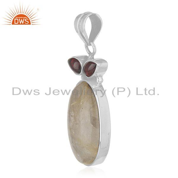 Exporter Garnet and Golden Rutile Gemstone 925 Silver Designer Pendant Wholesale