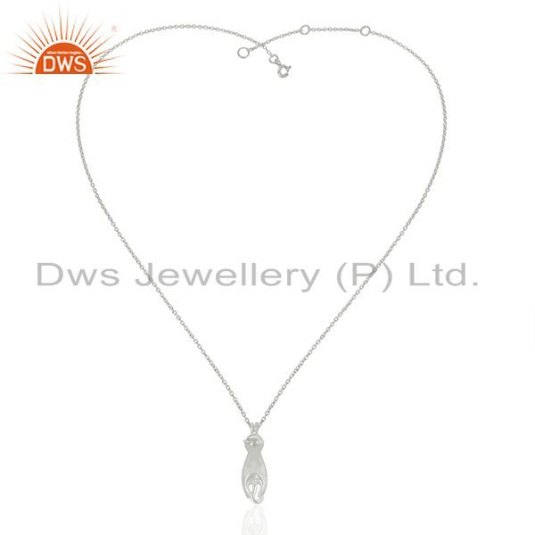 Exporter New Designer White Rhodium Plated 92.5 Sterling Silver Pendant Wholesale