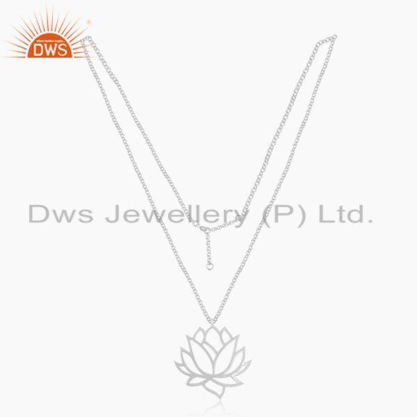 Exporter 92.5 Sterling Fine Silver Chain Lotus Design Pendant Manufacturer of Jewellery