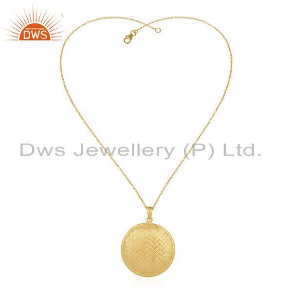 Exporter Handmade 925 Sterling Silver Gold Plated Chain Pendant Manufacturer of India