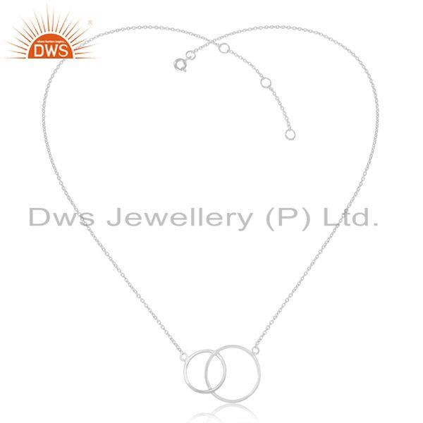 Exporter White Rhodium Plated 925 Sterling Silver Circle Design Pendant Manufacturer