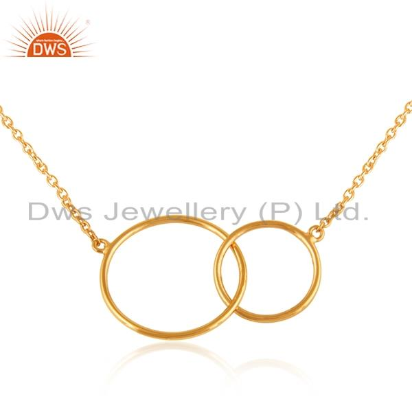Designer double circle necklace in yellow gold on silver 925