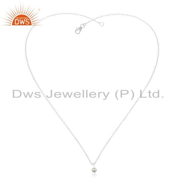 Exporter 92.5 Fine Sterling Silver Chain Natural Pearl Pendant Manufacturer Jaipur India