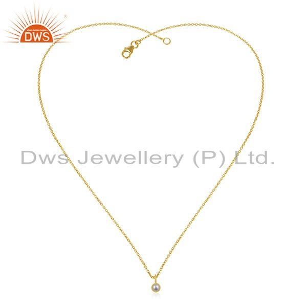 Exporter Natural Pearl 92.5 Sterling Silver Gold Plated Chain Pendant Manufacturer India