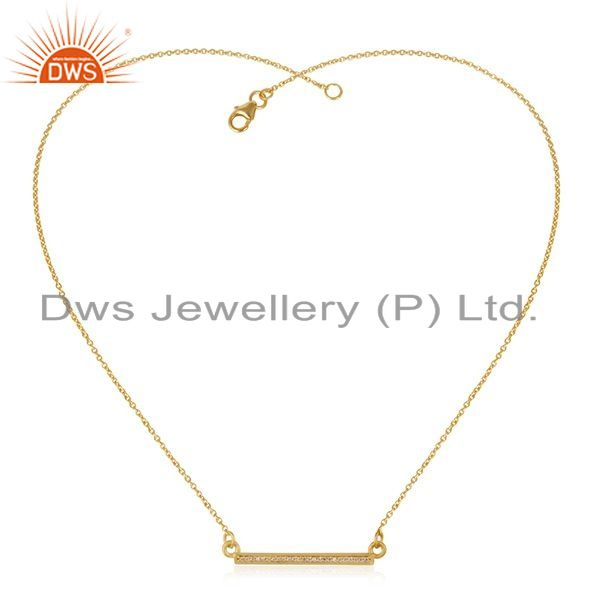 Exporter White Zircon 925 Sterling Silver Gold Plated Bar Necklace Pendant Manufacturer