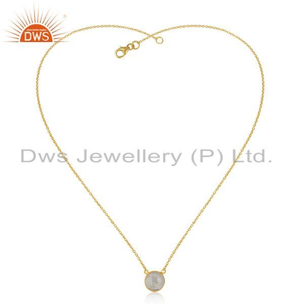 Exporter Indian Gold Plated Silver Rainbow Moonstone Gemstone Chain Pendant Jewelry