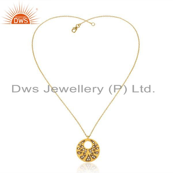 Exporter CZ Yellow Gold Plated Textured 925 Silver Chain Pendant Jewelry