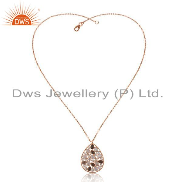 Exporter Multi Gemstone 925 Sterling Silver Rose Gold Plated Chain Pendant Manufacturer
