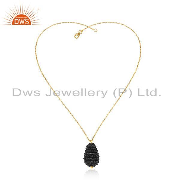 Exporter Natural BLack Onyx Beads Silver Chain Pendant Jewelry