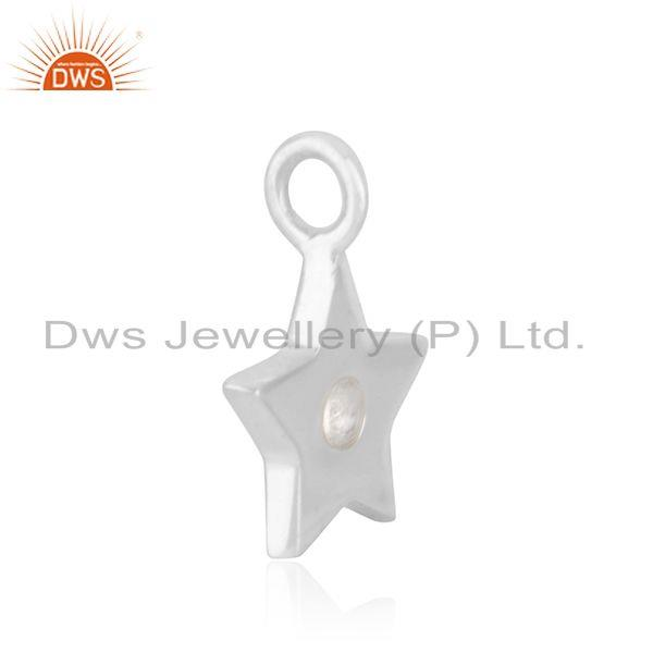 Exporter 925 Sterling Fine Silver White Topaz Star Charm Pendant Jewelry