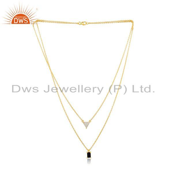 Exporter Multi Gemstone Gold Plated 925 Silver Chain Pendant Wholesale