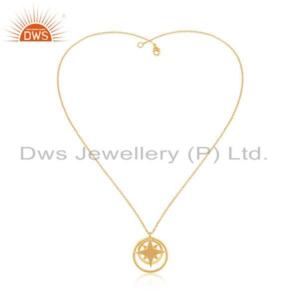 Exporter 14k Yellow Gold Plated 925 Sterling Silver Plain Chain Compass Pendant Wholesale