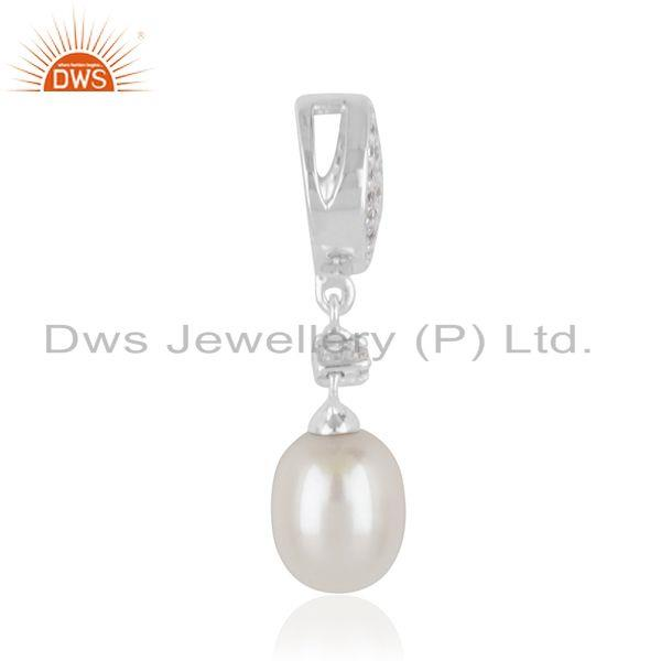 Exporter White Zircon and Pearl Gemstone Fine Sterling Silver Pendant Supplier