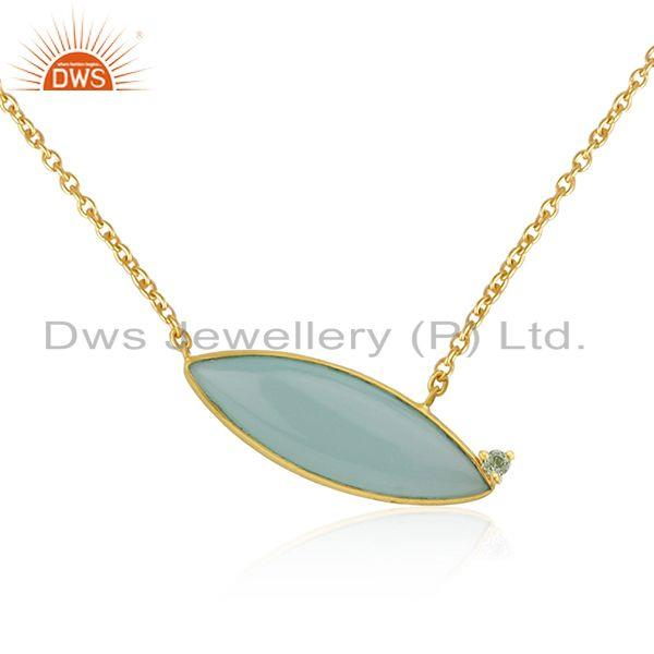 Exporter Aqua Chalcedony Gemstone Gold Plated 925 Silver Chain Necklace Jewelry