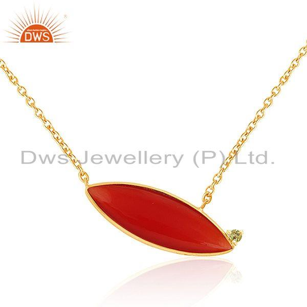 Exporter Gold Plated 925 Silver Peridot Red Onyx Gemstone Chain Pendants