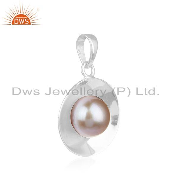 Supplier of Natural Pink Pearl Gemstone Handmade Fine Sterling Silver Pendant