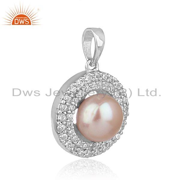 Exporter Natural Gray Pearl Round Design White Rhodium Plated Silver Pendant