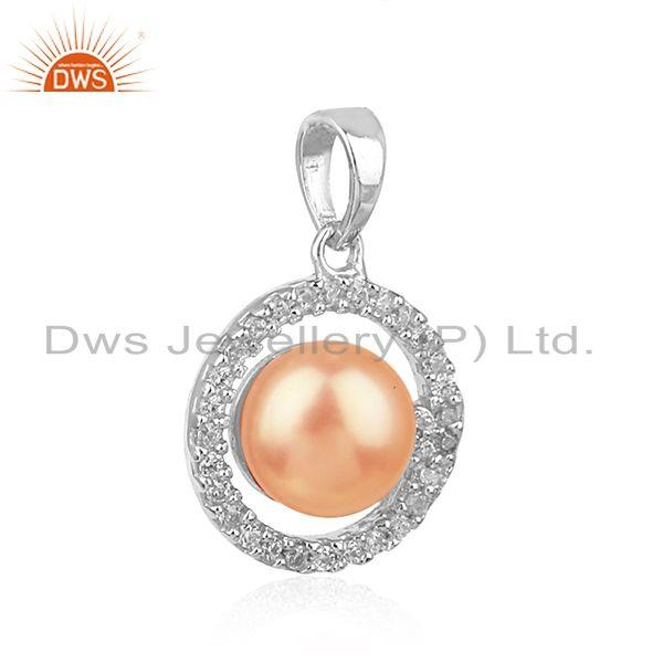 Exporter Natural CZ Pink Pearl White Rhodium Plated Silver Round Design Pendant