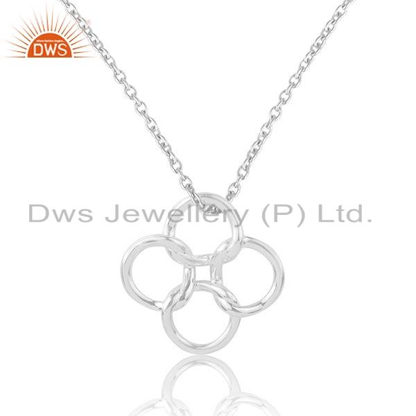 Exporter Sterling Fine Plain Silver Circle Connect Design Chain Pendant Jewelry
