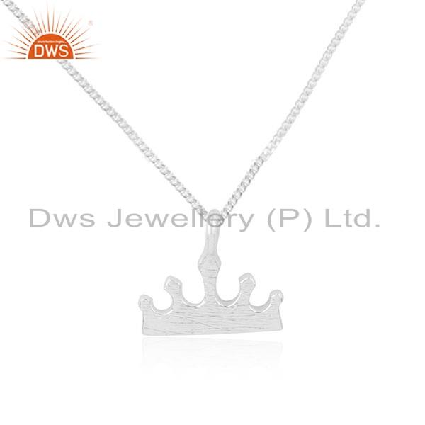 Exporter Indian 925 Sterling Silver Crown Design Womens Chain Pendant Jewelry