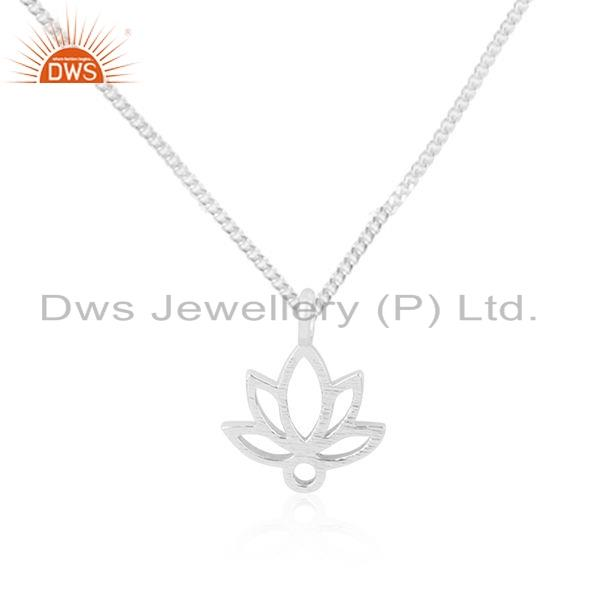 Exporter Handmade Louts Design Sterling Fine Silver Girls Chain Pendant Jewelry