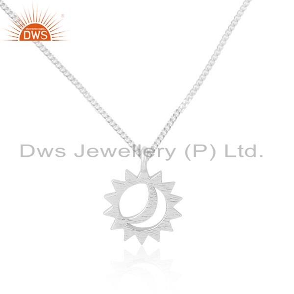 Exporter Indian Sun & Moon Design Fine Silver Chain Pendant Jewelry For Girls