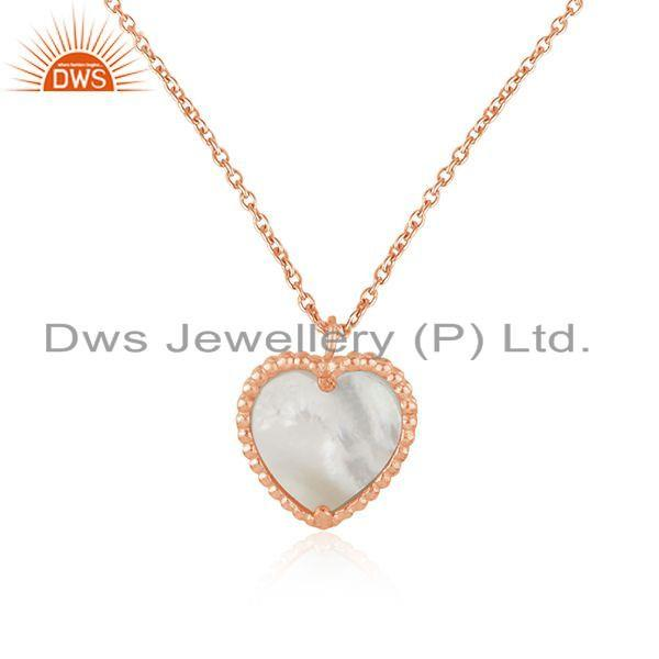 Exporter Rose Gold Plated Silver Mother of Pearl Gemstone Heart Pendant Jewelry